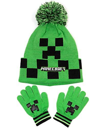 Vanilla Underground Minecraft Creeper Face Green Pom Pom Wollmütze und Handschuhe Set