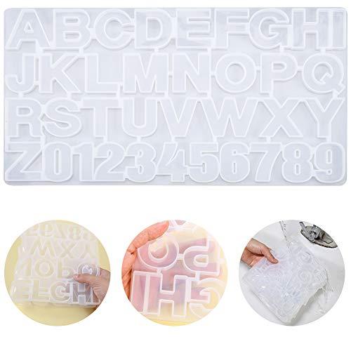 Xinzistar - Molde para resina con números del alfabeto y letras de silicona, molde de resina epoxi para llavero, joyas, collar y colgante