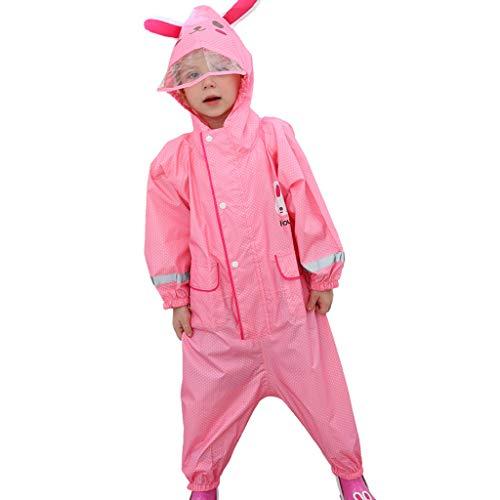 CKH Outdoor Reizen Kinderen Siamese Regenjas Stijl Jongen Meisje Baby Kwekerij Grote Hoed Ademende Regenbroek Poncho Roze