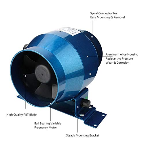 Metallo Hon/&Guan Inline Duct Fan Scarico Ventilazione Ventilatore Assiale per Serra ABS-100MM Garage
