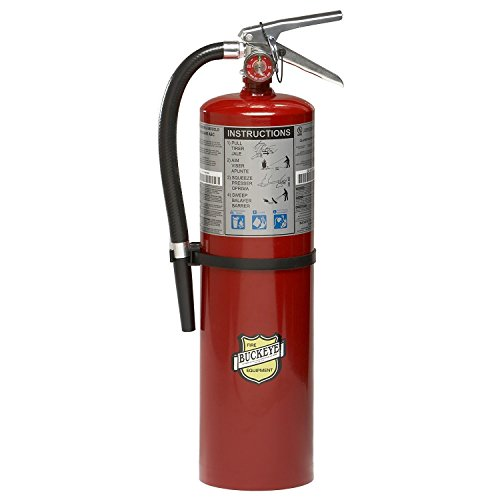 Buckeye 11340 ABC Multipurpose Dry Chemical Hand Held Fire Extinguisher with Aluminum Valve and Wall Hook, 10 lbs Agent Capacity, 5-1/8' Diameter x 7-3/4' Width x 21' Height (Qty of 8)