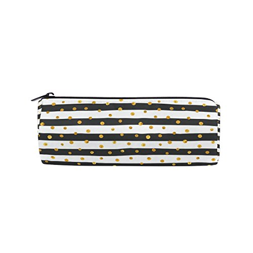 JSTEL Gold Dots White and Black Stripes School Pencil Case Pen Bag Stationery Pouch Stationary Case Makeup Cosmetic Bag