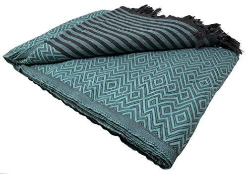 Bella Casa KELIM LUX Tagesdecke Bettüberwurf Überwurf Plaid Baumwolle 205x260 cm (Mint)