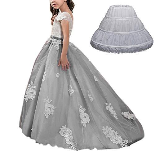 AbaoSisters Girls 3 Hoops Petticoat Half Slip Flower Girl Crinoline Skirt 2-6 Years White