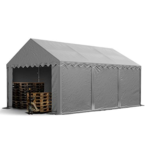 TOOLPORT Lagerzelt Unterstand 4 x 6 m in grau Weidezelt ca. 500g/m² PVC Plane nach DIN wasserdicht