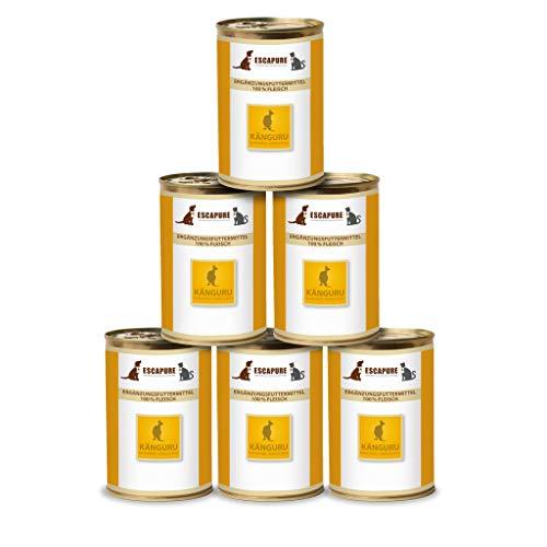 Escapure Hunde Nassfutter Dosen | Känguru PUR in Premium Qualität | Ergänzungsfuttermittel | ohne Zusatzstoffe und frei von Getreide | 6x400g