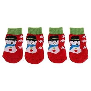 Celan 4pcs/lot Pet Chaussettes de Noël Chaud écran Chat ou Chiot Chaton antidérapant en Tricot Doux et Respirant Intérieur Griffe Paw Protection