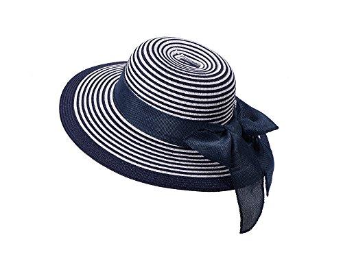 Miuno Miuno® Damen weich Sonnenhut Partyhut Stroh Hut Schleife H51065 (blau)