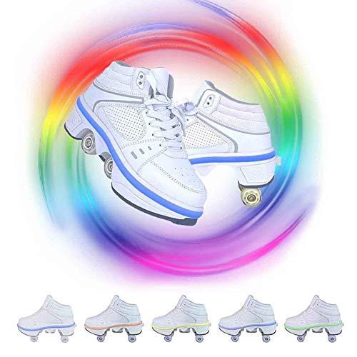 JZIYH Deformations-Rollschuhe Mit LED-Leuchten 2 in 1 Verstellbare Versenkbare Rollschuhe Für Jungen-Mädchen-Quad-Skates,Weiß,42
