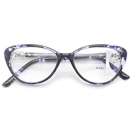 VEVESMUNDO Lesebrillen Anti Blaulicht Blaulichtfilter Computer Progressiven Multifokal Gleitsichtgläser Katzenauge Vintage Damen Sehhilfe Lesehilfe Brillen Dioptrien 1.0 1.5 2.0 2.5 3.0 3.5