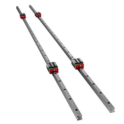 Mophorn Riel Lineal 15-1500 mm 2x Riel de Guía Lineal 4x Tipo Cuadrado Bloque de Cojinetes del Carro Soporte de Riel Lineal para Rodamientos Ranurados de 15 mm