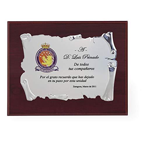 Trofeos Martínez - Placa Conmemorativa/Homenaje con Placa en Aluminio en Forma de pergamino para grabación a Color | Diferentes tamaños 29x23cm, 24,5x19,5cm y 21x16,5cm | Incluye Estuche de Calidad