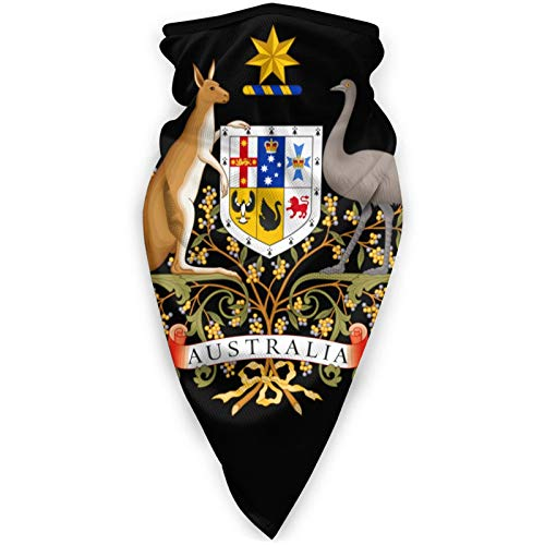 Australia Coat of Arms Outdoor Face Mouth Mask Windproof Sports Mask Shield Protection Scarf Neck Gaiter Warmer Balaclava Black