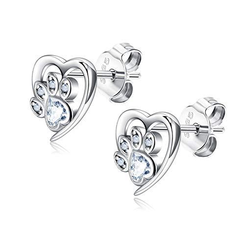 QQINGHAN Pendientes de plata 925 con diseño de huella animal para mujer, con forma de corazón, circonita cúbica azul, color de la gema: PTEE0473 A)