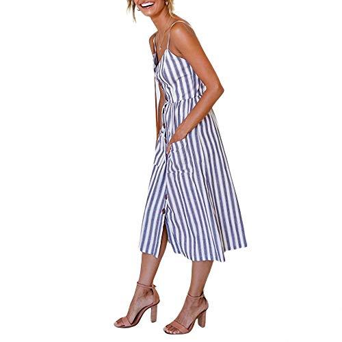YuJian12 Vestido de verano para mujer, estilo bohemio, sexy, con botones, sin espalda, con diseño de lunares, a rayas, floral, vestido de playa de mujer, Cóctel, Mujer, color azul oscuro, tamaño XXL