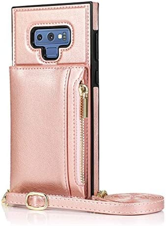 Case for Samsung Galaxy Note 9, Zipper Wallet Case with Credit Card Holder/Crossbody Long Lanyard, Shockproof Leather TPU Case Cover for Samsung Galaxy Note 9 (Color : Rosegold)