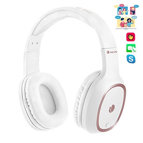 NGS Artica Pride Auriculares de Diadema, estéreo, inalámbricos, Bluetooth, con micrófono, 7 Horas de autonomía, Manos Libres, Color Blanco