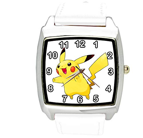 Taport Pikachu Pokemon quadrato orologio al quarzo bianco cinturino in pelle