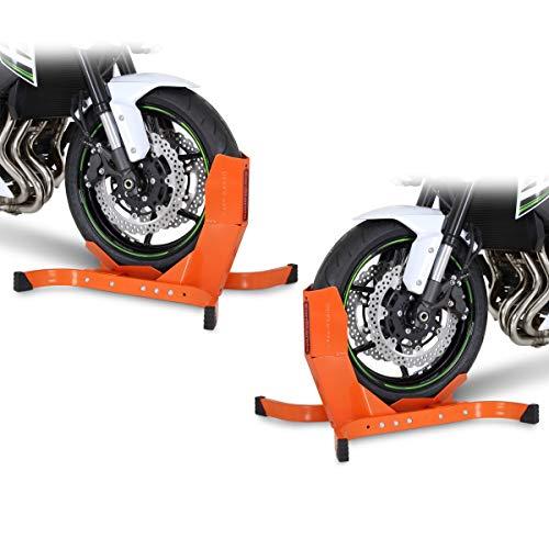 2X Vorderradhalterung/Motorradständer ConStands Easy-Plus bis 21 Zoll orange