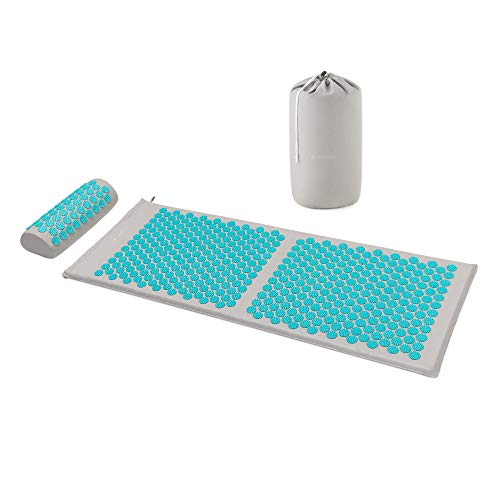 Navaris Set de Masaje de acupresión XL - Esterilla de acupuntura y Almohada - Manta para masajes con Pinchos para Alivio de contracturas musculares