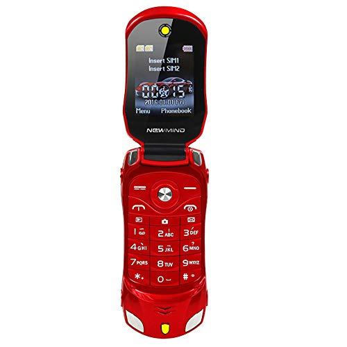 Comie Handy Auto Modell Mini-Bluetooth-Telefon | Erweiterungstelefon ohne Vertrag | 2G Unlocked-Doppelkarten-Notruftaste | Große Taste Mobiler Notruffunktion | Mp3 Mp4 FM Radio Recorder Flip Handy
