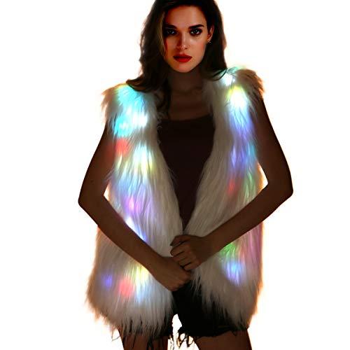 Light Up Fur Jacket - Women White Fur Coat Furry Led Vest Glow Waistcoat Fuzzy Burning Man Costumes Rave Wear Clothes Festival Outfit (LED Vest -Small)