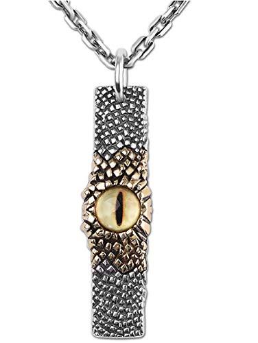 CHXISHOP S925 Silver Jewelry Personality Hombre Hip Hop Tiger Ojo Colgante Colgante 18 Inches