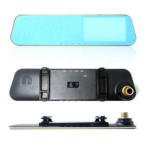 Grabador De Conducción De Automóviles HD Espejo Retrovisor De Visión Nocturna Gran Angular 4.3 Pulgadas De Doble Lente Dvr (T2) Modelo Dorado de 4.3 Pulgadas
