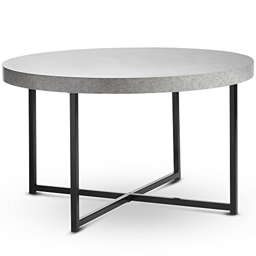 VonHaus Concrete Look Round Coffee Table Grey - 80cm Diameter – Modern Industrial Style Lightweight Metal Effect Furniture with Black Legs - Lounge, Bedroom, Hallway, Living & Dining Room - H45xD80cm