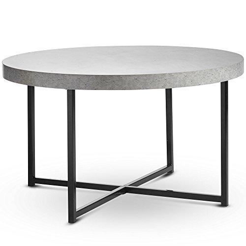 VonHaus Concrete-Look Round Coffee Table 80cm Diameter – Modern Lightweight Metal-Effect Furniture – for Bedside/Hallway/Living Room
