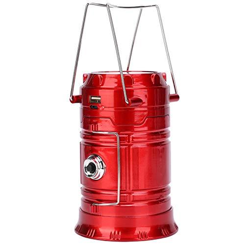 03 Tragbares Laternenlicht, 2-in-1-Design-LED-Campingzeltlicht aus Edelstahl, weit verbreitetes Nachtreiten-Campingfischen für das tägliche Lesen(red)