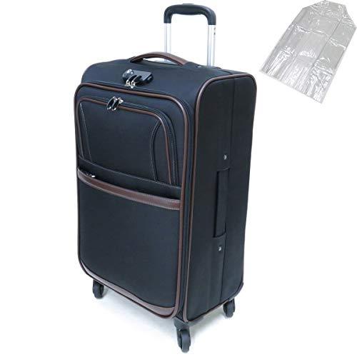 [セット品] (ビバーシェ) Vivache SP-R2-M ソフトキャリーケース 3.5kg・50L 空港受託手荷物無料サイズ 縦型 4輪キャスター・(レジェンドウオーカー) 9095 透明スーツケースカバー 【合計2点セット】 (ブラック)