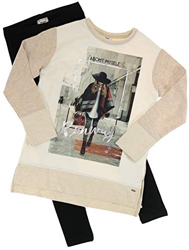 Mayoral Mädchen Kindermode-Set Shirt & Leggings The World is My Runway, beige-Marineblau, Gr. 164 (164)