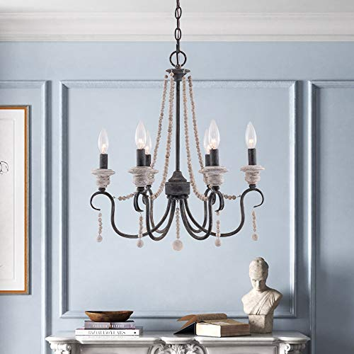 French Country Wooden Beaded Chandelier with 6 Candle Light, Farmhouse Wood Chandelier Pendant Ceiling Light (Black)