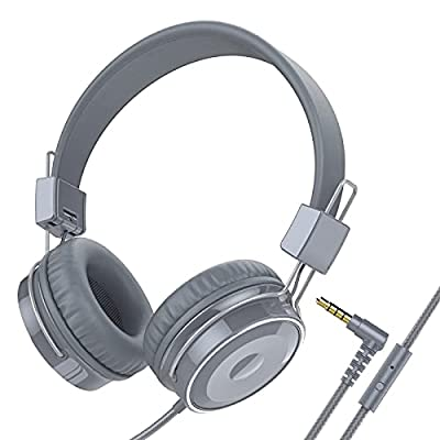 Baseman Wired Foldable Headphones with Mic, Stereo Heavy Bass On Ear Headset for iPhone Cell Phones Laptop Tablet Mp4 Mp3 Macbook PC (Grey) by BASEMAN