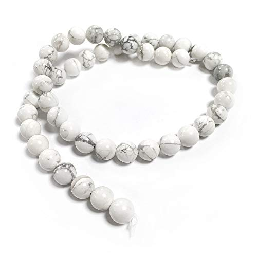 Howlite Perles Blanc/Gris Rond 8mm Fil De 45+