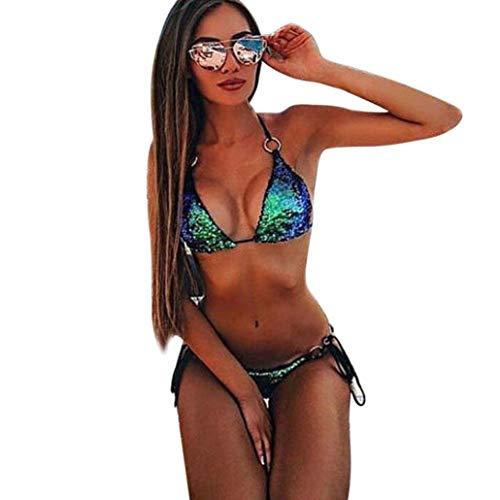 Mujer Bikini 2019 Color sólido Traje de Baño Mujer Dos Piezas Ropa de Playa Conjunto de Bikinis Lentejuelas Sexy Push up Bikini Tankinis Mujer Beachwear Bañador Mujer vpass