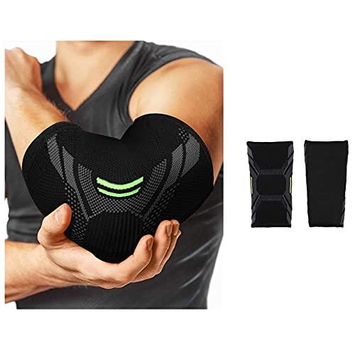 Dapei Ellenbogenbandage Kompressions-Stützärmel 1 Paar, Elastischer Ellbogen-Bewegungsschutz für Tennis und Golfer, Hergestellt aus atmungsaktiver elastischer Mischung (Schwarz , XL)
