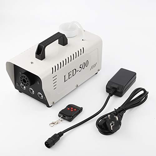 Nebelmaschine 500W Mit Fernbedienung und Dreifarbiges Licht, Mini Nebelmaschine Set für Feiertage Parties Hochzeiten Club DJ Bar (Weiß)