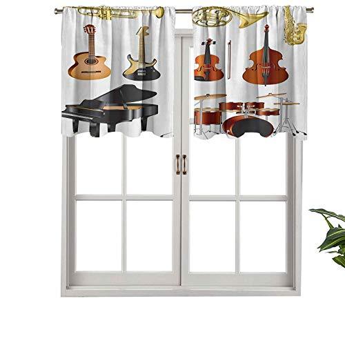 Hiiiman Cortinas opacas cortas, colección de instrumentos musicales, compuesto de conciertos de orquesta sinfónica y concierto, juego de 1, cenefas pequeñas de 127 x 45 cm para dormitorio