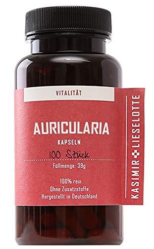 Bio Auricularia Kapseln 100 Stück - handverkapselt und regional: Judasohr (Auricularia polytricha) Vitalpilz Kapseln