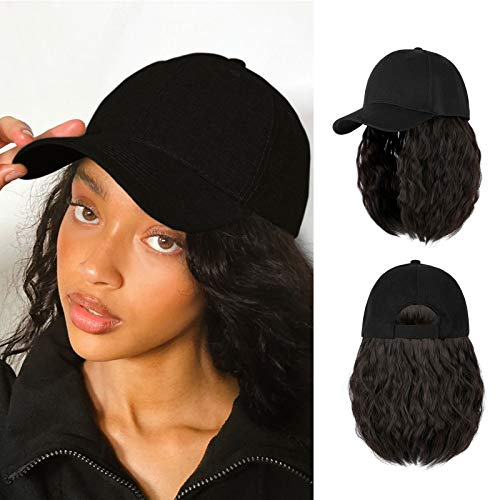AynnQueen Baseball Cap with Hair Short Bob Hair Extensions for Women 14inch Kinky Curly Bob Hairstyle Removable Wigs Adjustable Black Baseball Cap(Natural Black)