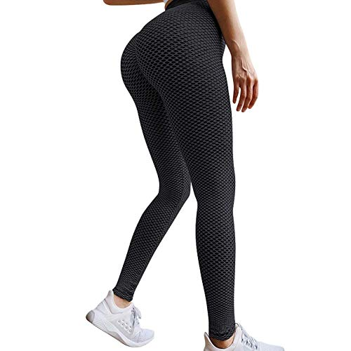 Famous TikTok Leggings, Yoga Pants for Women High Waist Tummy Control Booty Bubble Hip Lifting Workout Running Tights D-Black
