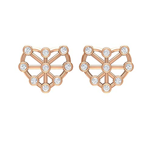 Pendientes de corazón de oro con diamantes (calidad AAA), con rosca