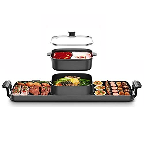 BDHBB Intérieur Korean BBQ Grill Smokeless électrique, avec 1 Mini casseroles, Double Chauffage Commande électrique sans fumée Grill, antiadhésive