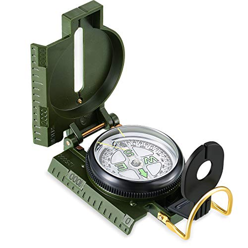 Skylety Military Navigation Compass Waterproof Army Compass Sighting Compass Navigation Tactical Compass Shockproof Lensatic Compass Multifunctional Compass for Exploring Camping Hiking Hunting