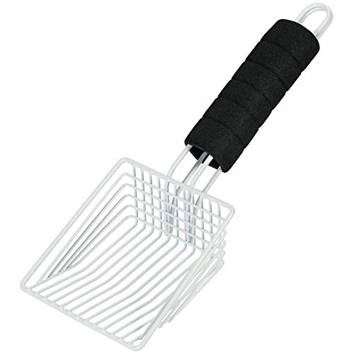 BasicForm Metal Cat Litter Scooper  Stainless Steel Wires with Deep Shovel for Fast Sifting  Comfy Foam Handle