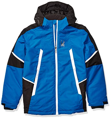 Spyder Boys' Big City to Slope Full Zip Hooded Jacket with Poly Fill-Blue, Old Glory (F19), Medium (10/12)