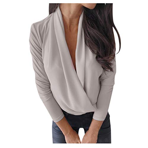 Leaf2you Blusa de manga larga con cuello en V profundo para mujer, de color puro, casual, suelto,…
