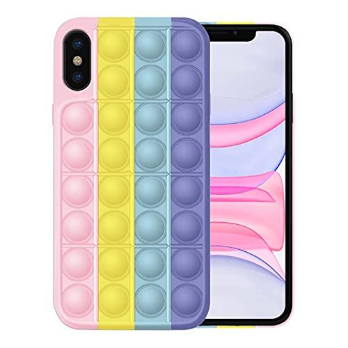 Fignet Toys Set per iPhone X   Xs Cover iPhone XS Max Custodia Simple Pop It Fidget Toy Set, Push Pop Bubble Anst Toys e Custodia in silicone Rosa (3, iPhone X  Xs)